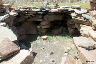 An empty Gaddi stone hut
