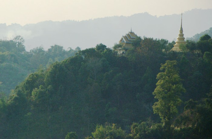 Temples on a hill in Golden Triangle region of Thailand