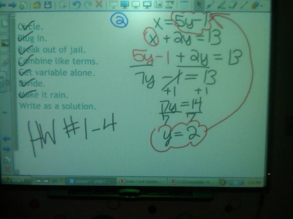 Eighth Grade Lesson In Algebra Substitution Method
