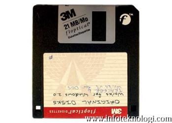 Disket Floptical, mampu menyimpan 21 MB data