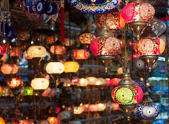 beautiful lamps in bazaars