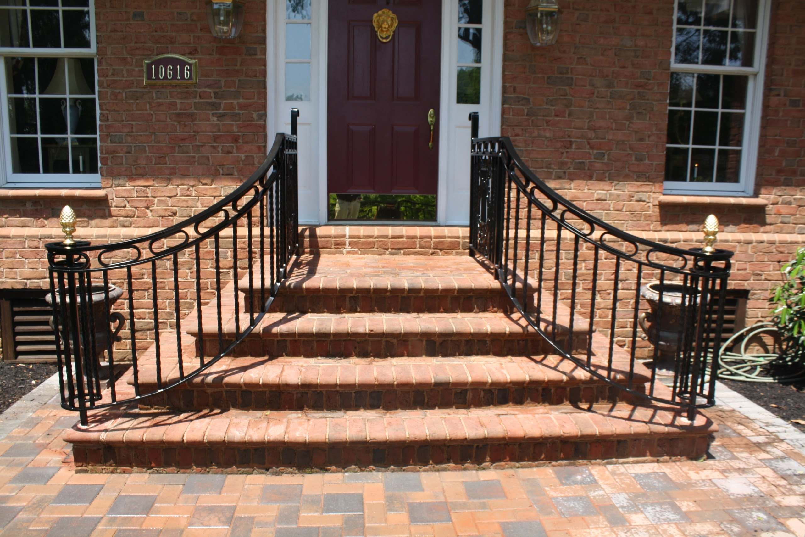 Porch Brick Front Porch Steps Curved   Exterior Handrails For Brick Steps   Staircase   Vinyl Railing   Wrap Around   Deck Railing   Wood