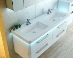 Doppeltes Waschbecken Mit Unterschrank   Konzept Armaturen