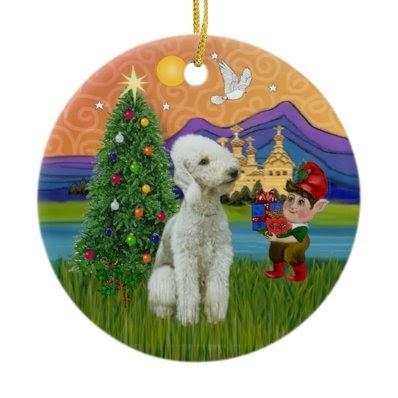 Xmas Fantasy Bedlington Terrier Christmas Tree Ornament