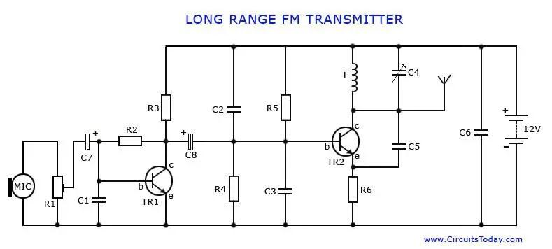 Long Range FM TransmitterElectronics Project Circuts
