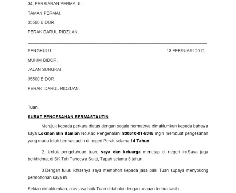 Permohonan Contoh Surat Sokongan Ketua Kampung
