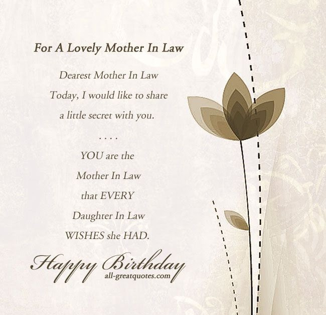 Mother In Law Happy Birthday Poems