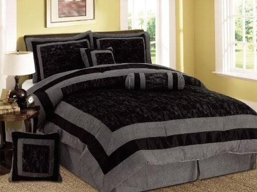 Comforter Sets: 7 Pieces Black And Grey Micro Suede