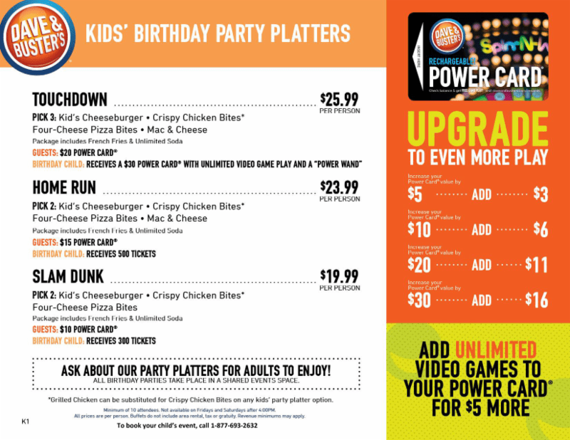 Dave And Busters Birthday Party Pricing