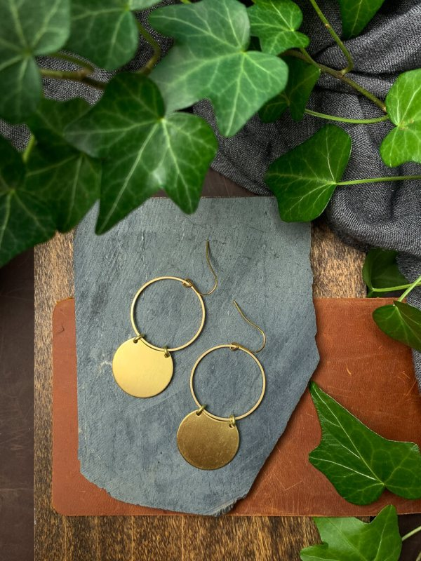 brass hoop earrings with gold plated hooks