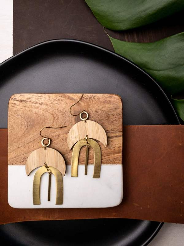 brass and bamboo moon archway earrings with gold plated hooks