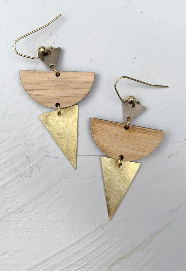 bamboo moon earrings with brass triangles