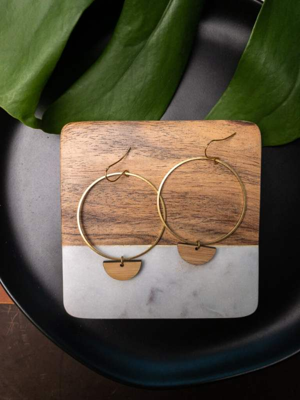 brass and bamboo half circle hoop earrings with gold plated hooks