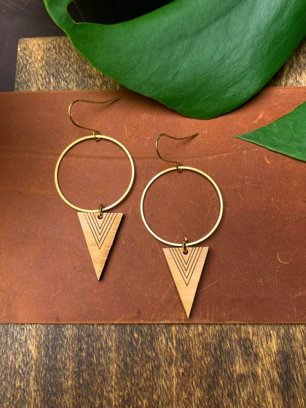 brass and bamboo triangle hoop earrings with gold plated hooks
