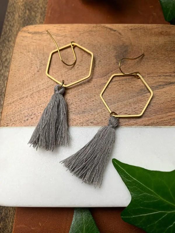 brass gray tassel earrings with gold plated hooks