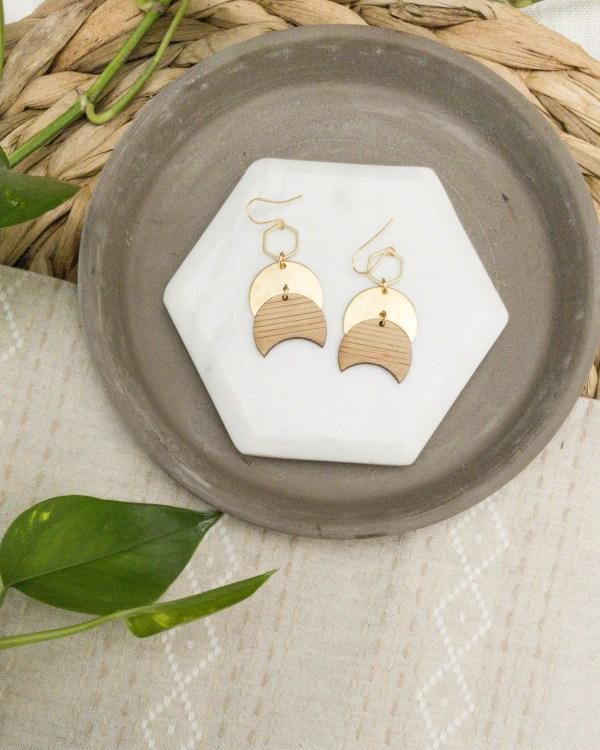 brass and bamboo waining moon earrings