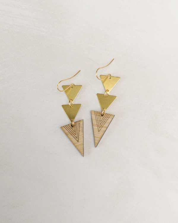 brass and bamboo triple triangle earrings
