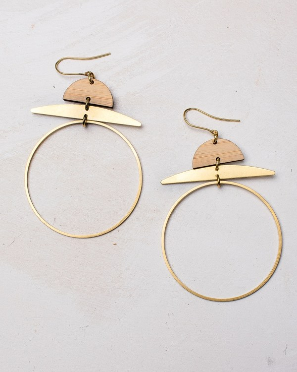 brass and bamboo hoop earrings with gold plated hooks