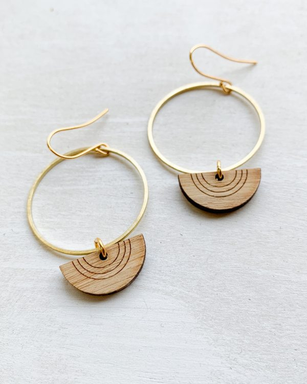 bamboo and brass small hoop earrings with gold plated hooks