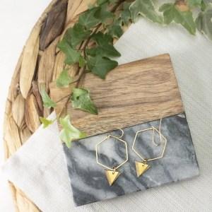 brass and bamboo hexagon hoop earrings