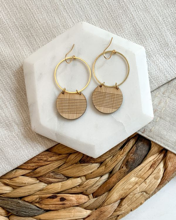 Bamboo and brass disc hoops