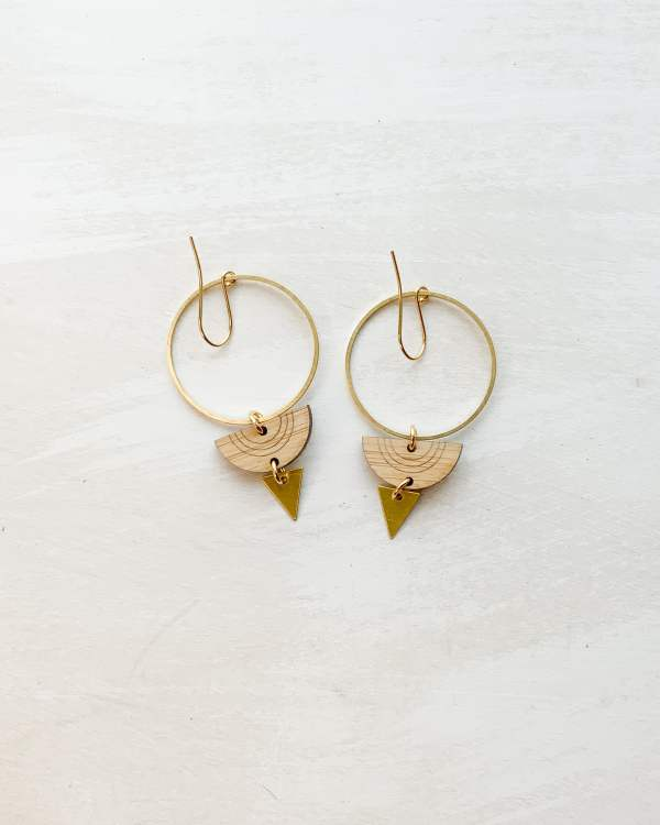 Brass and bamboo half circle triangle hoops