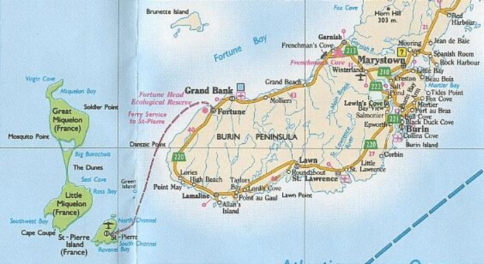 Carte de la Péninsule de Burin