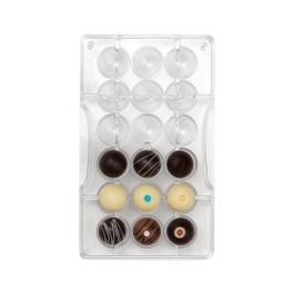Moule à chocolat polycarbonate hémisphère perforée Ø 25 x 12,5 H mm 18 cavités – Decora