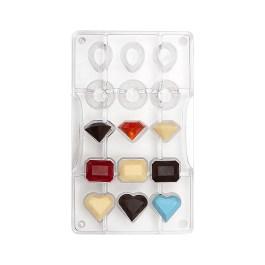 Moule à chocolat polycarbonate pierre precieuse 15 cavités – Decora