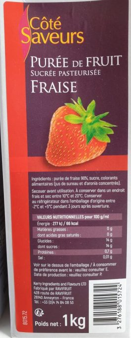 Purée fraise 1L – Côté Saveurs
