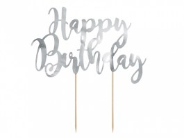Cake topper happy birthday argent  22,5 CM – KPT11-018M – PartyDeco
