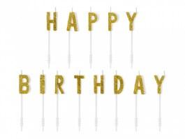 Bougies happy birthday or x13  2,5 CM – SCS-9-019B – PartyDeco