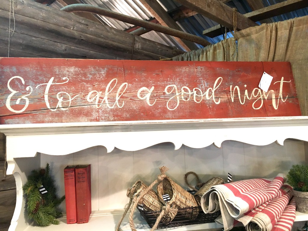 "rustic wooden christmas sign that reads, ""& to all a good night"""