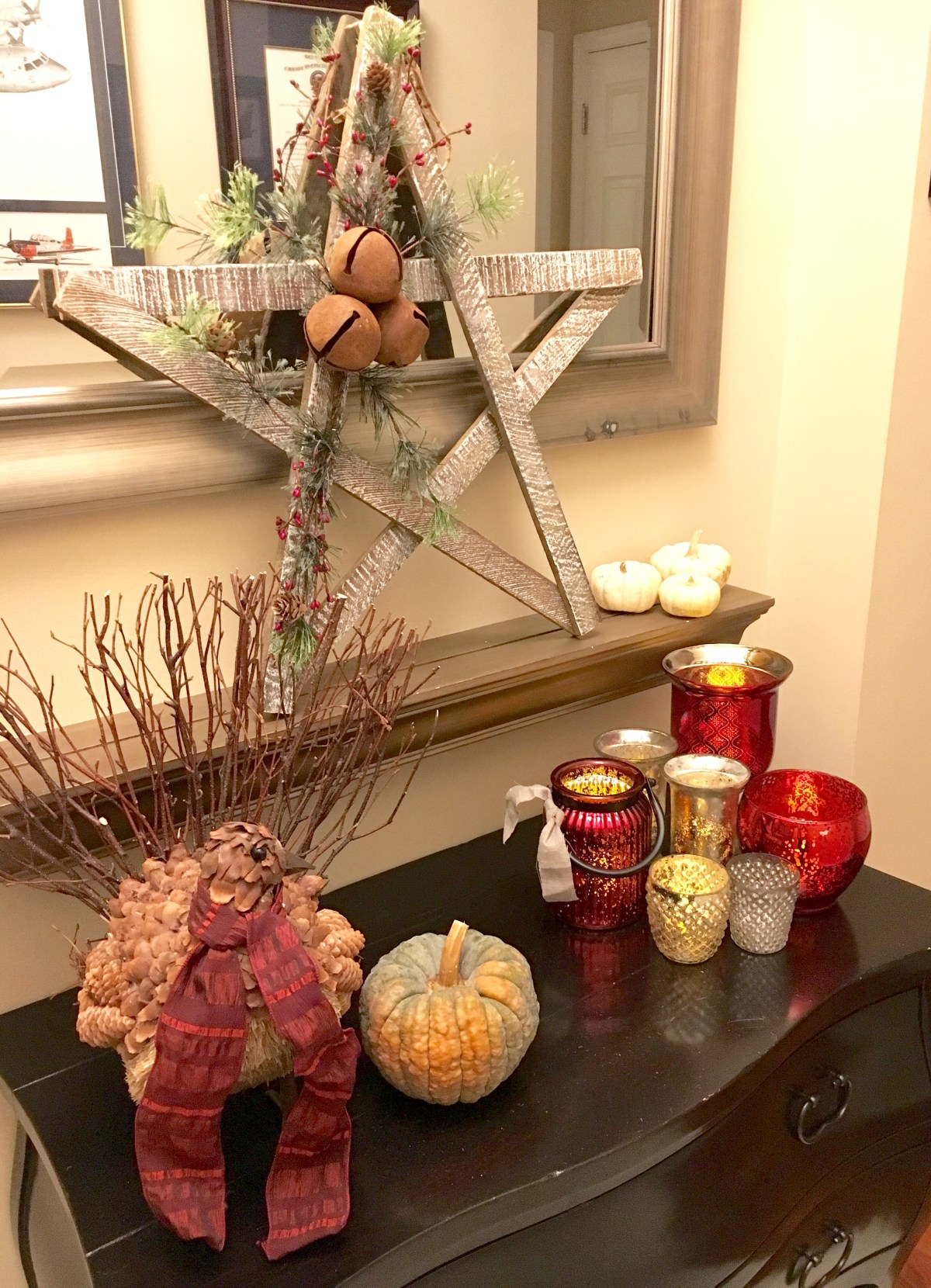 front hallway decorated with vintage holiday glam decor