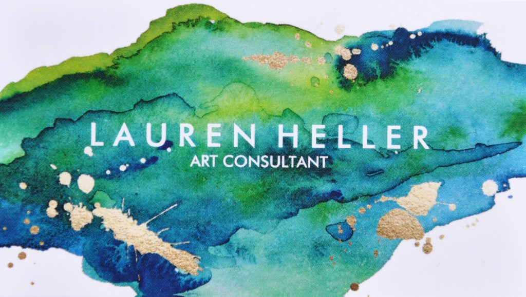The logo for Lauren Heller Art Consultant features blue and green paint splatter with gold flecks and the business name written in white font.