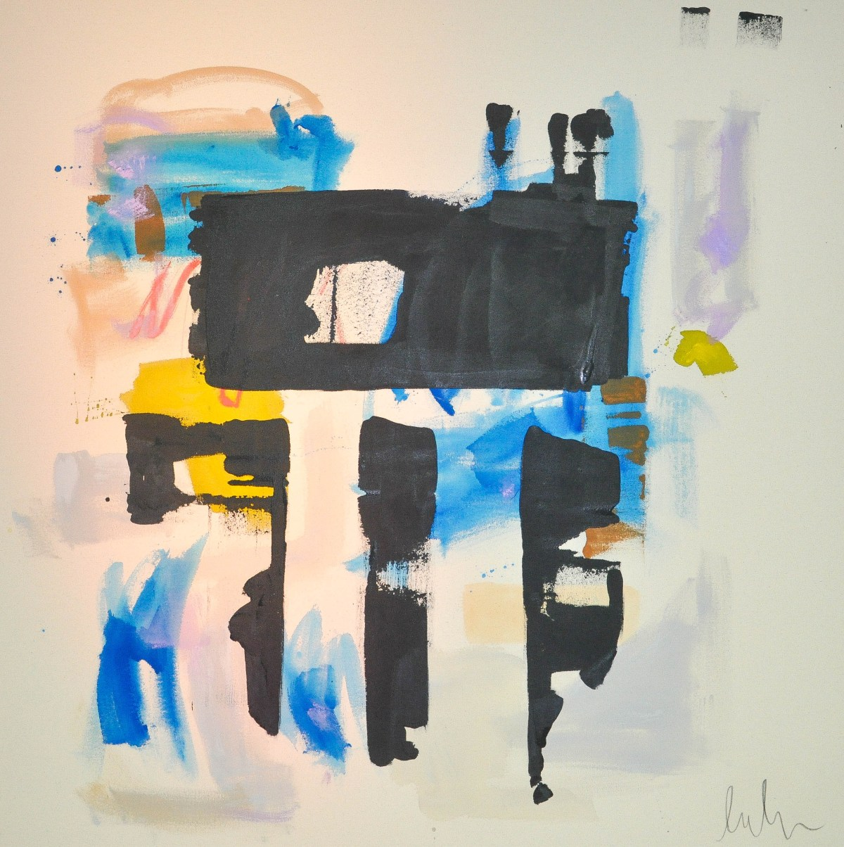 A painting by Laura Deems reminds one of looking at a Rorschach test with its prominent black gestural markings painted against a background of softer colors.