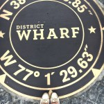 A large black and gold medallion inset within the cobblestoned walkway at District Wharf in Washington DC highlights the area's coordinates on a map