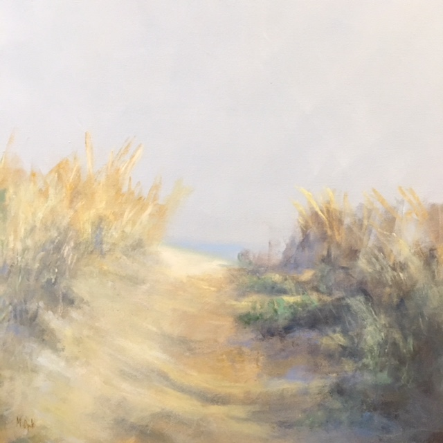A serene beachscape painting of the sun's golden rays hitting the sea grass that lines a worn path down to the beach.