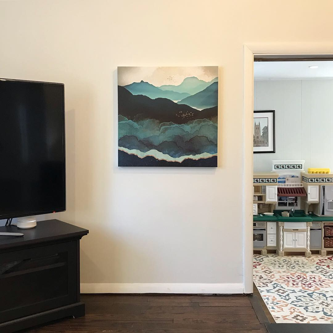 The After Image of Mountain Painting of Family Room Wall