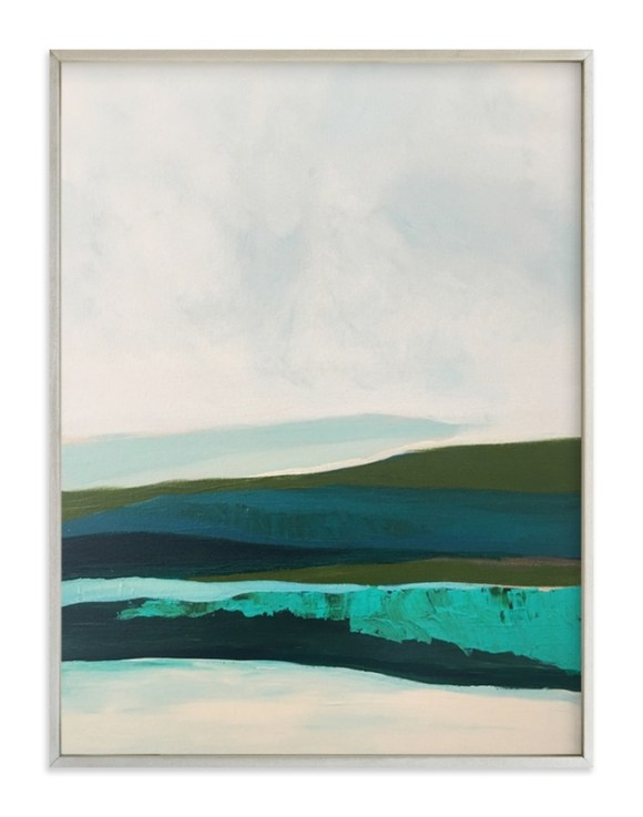 A serene Minted abstract landscape in shades of green is shown in a champagne silver frame.