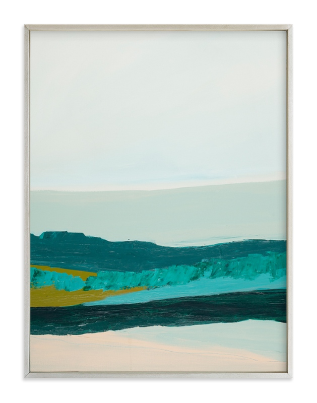A serene Minted abstract landscape is painted in shades of green and displayed in a champagne silver frame.