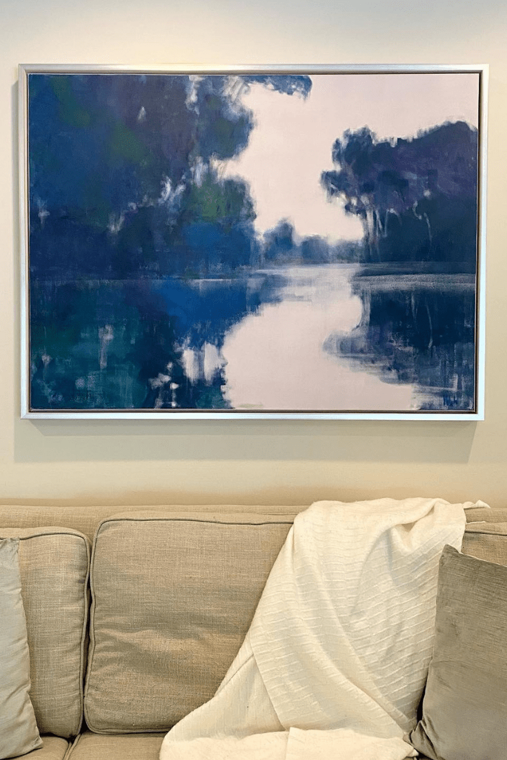 Client Project: Contemporary Coastal Painting Turns This Family Room Into a Peaceful Summer Retreat