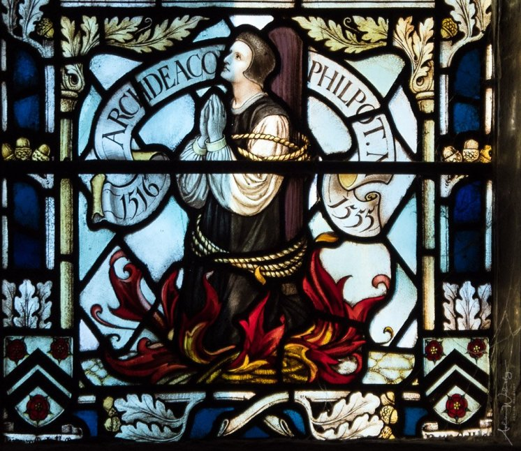 Detail of Philpot window in Winchester Cathedral