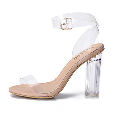 Women's Jelly Sandals PVC(Polyvinyl chloride) Spring / Summer Transparent Shoes Sandals Chunky Heel / Block Heel Peep Toe Buckle White / Black / Blue / Party & Evening / Party & Evening / EU41