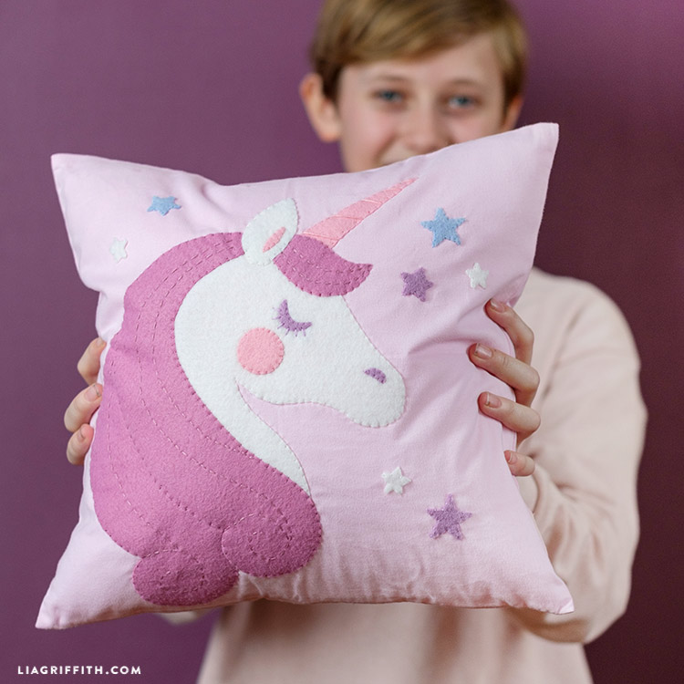 sew a simple diy unicorn pillow for