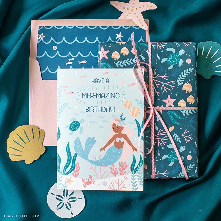 printable mermaid birthday card lia