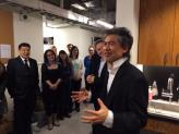 Playwright David Henry Hwang thanks and congratulations the cast, crew and creative team backstage on opening night. Photo by Lia Chang