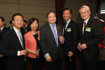2014 Justice in Action honoree John G. Chou is flanked by past Justice in Action Award recipients - Don Liu, Sandra Leung, Art Chong and Parkin Lee. Photo by Lia Chang