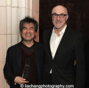 David Henry Hwang, 2015 ISPA Distinguished Artist Award recipient and David Baile, Chief Executive of Officer of ISPA, at the 2015 ISPA Congress Awards Dinner at Guastavino's in New York on January 14, 2015. Photo by Lia Chang