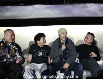 Eddie Huang, Hudson Yang, Randall Park and Melvin Mar during the talkback at the #FreshOffTheBoat Viewing Party at The Circle NYC on February 4, 2015. Photo by Lia Chang